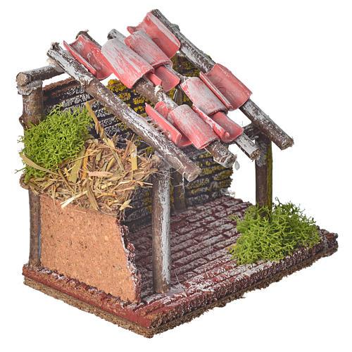 Stalla per animali in legno per presepe 14x14x9 2