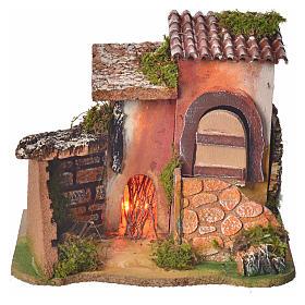 Ambientações para Presépio: lojas, casas, poços: Casinha com fogo presépio 17x20x15 cm