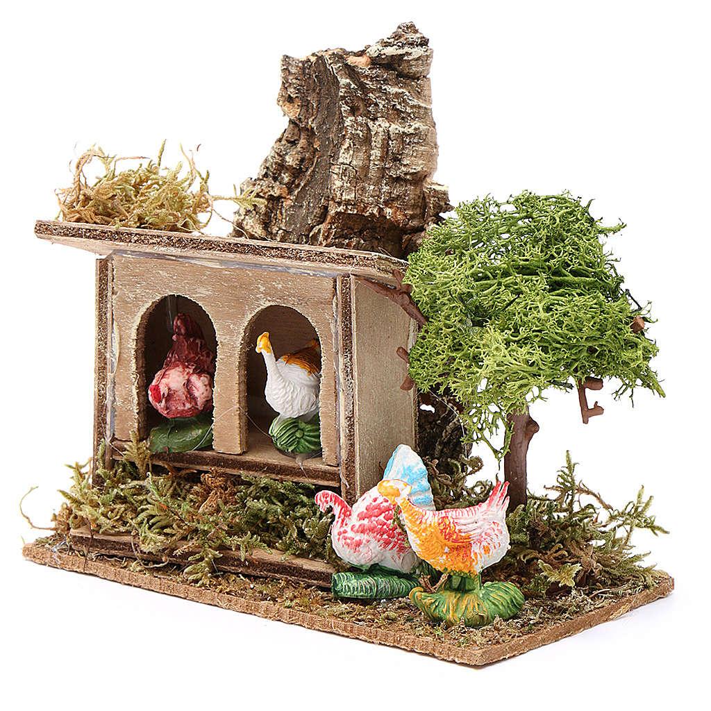 Ambientazione presepe gallo e galline cm 10 4
