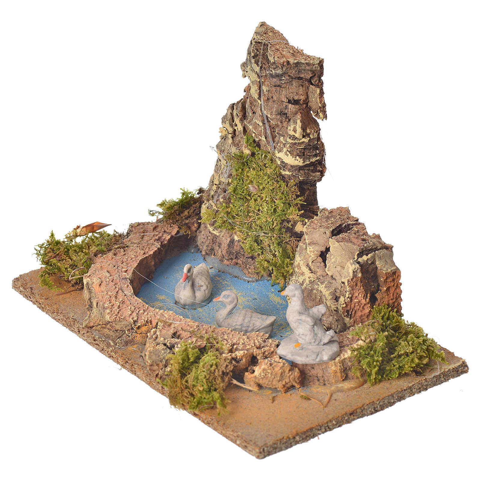 Nativity setting, pond with ducks 10cm 4