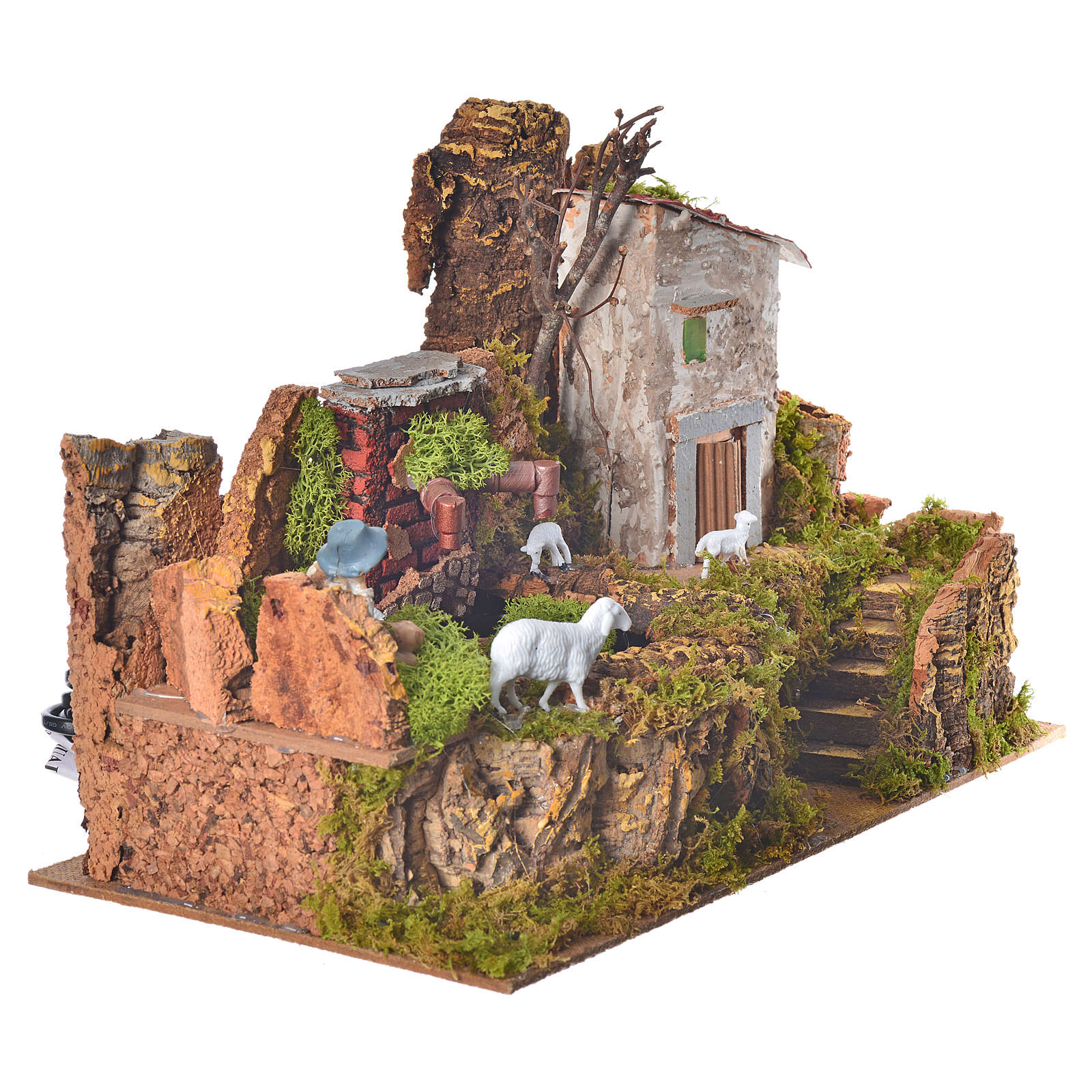 Nativity setting, fountain with pump 33x18x22cm 4