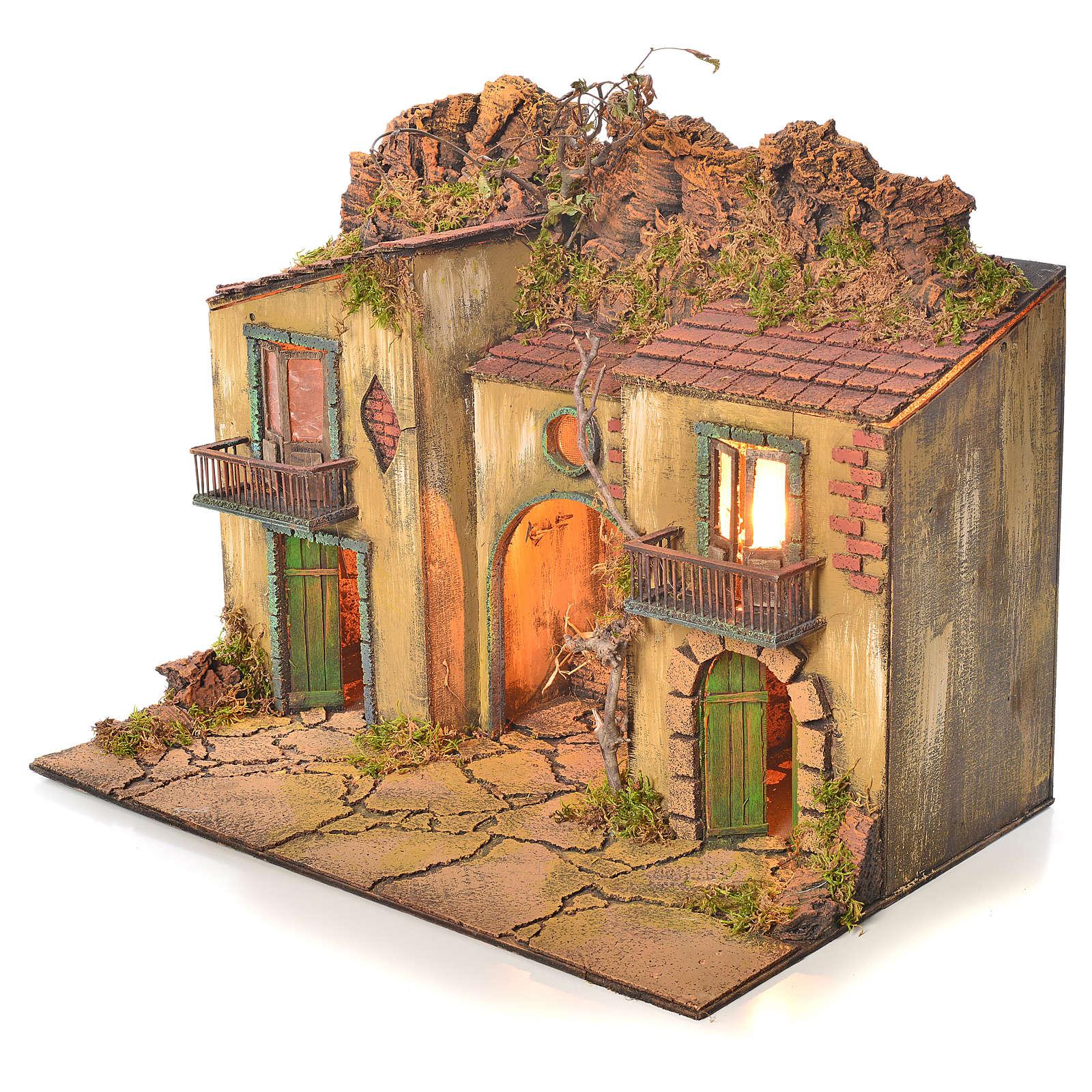 Borgo presepe napoletano con mangiatoia 50x58x40 cm 4
