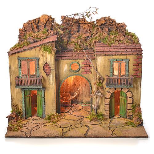 Borgo presepe napoletano con mangiatoia 50x58x40 cm 1