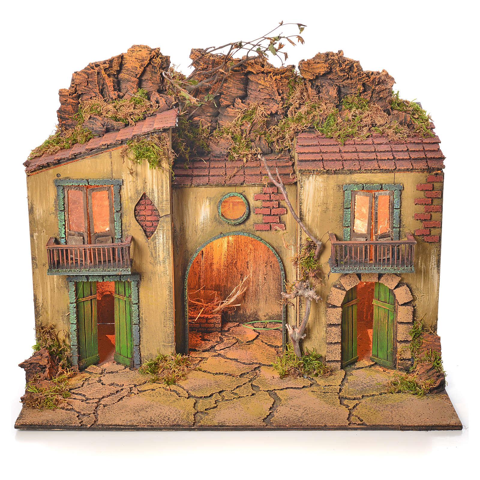 Neapolitan nativity village with manger 50x58x40cm 4