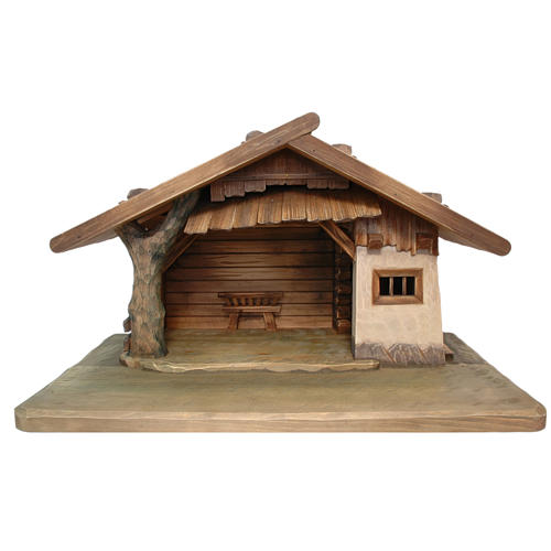 Cabane pour crèche Valgardena bois peint 1