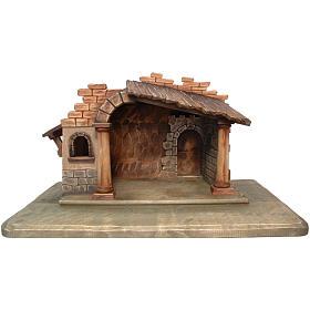 Cabaña belén Valgardena madera pintada s1