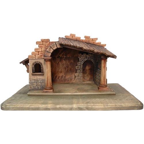 Cabaña belén Valgardena madera pintada 1