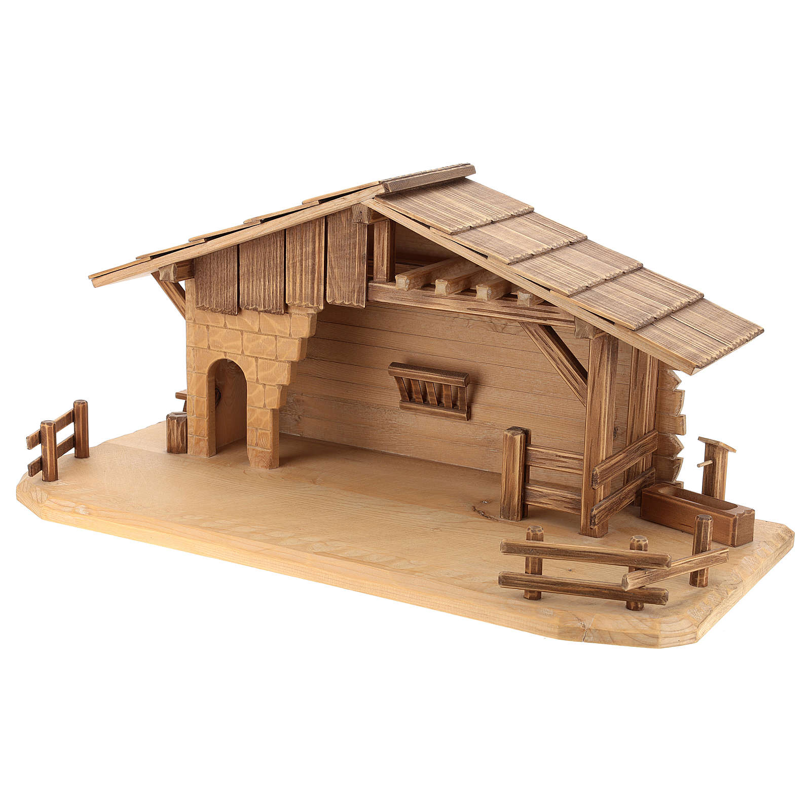 Cottage style nativity stable, multi-patinated Valgardena wood 4