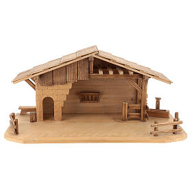 Cottage style nativity stable, multi-patinated Valgardena wood s1