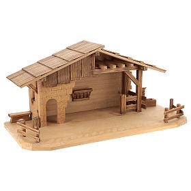 Cottage style nativity stable, multi-patinated Valgardena wood s4