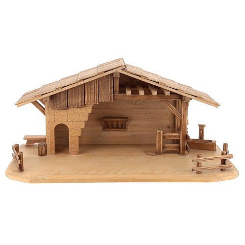 Cottage style nativity stable, multi-patinated Valgardena wood 1