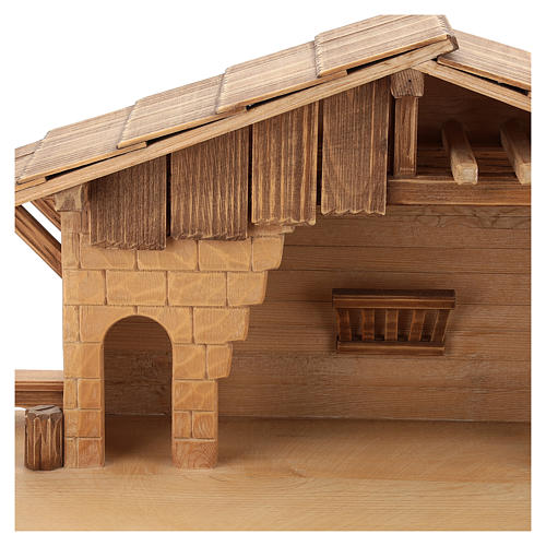 Cottage style nativity stable, multi-patinated Valgardena wood 2