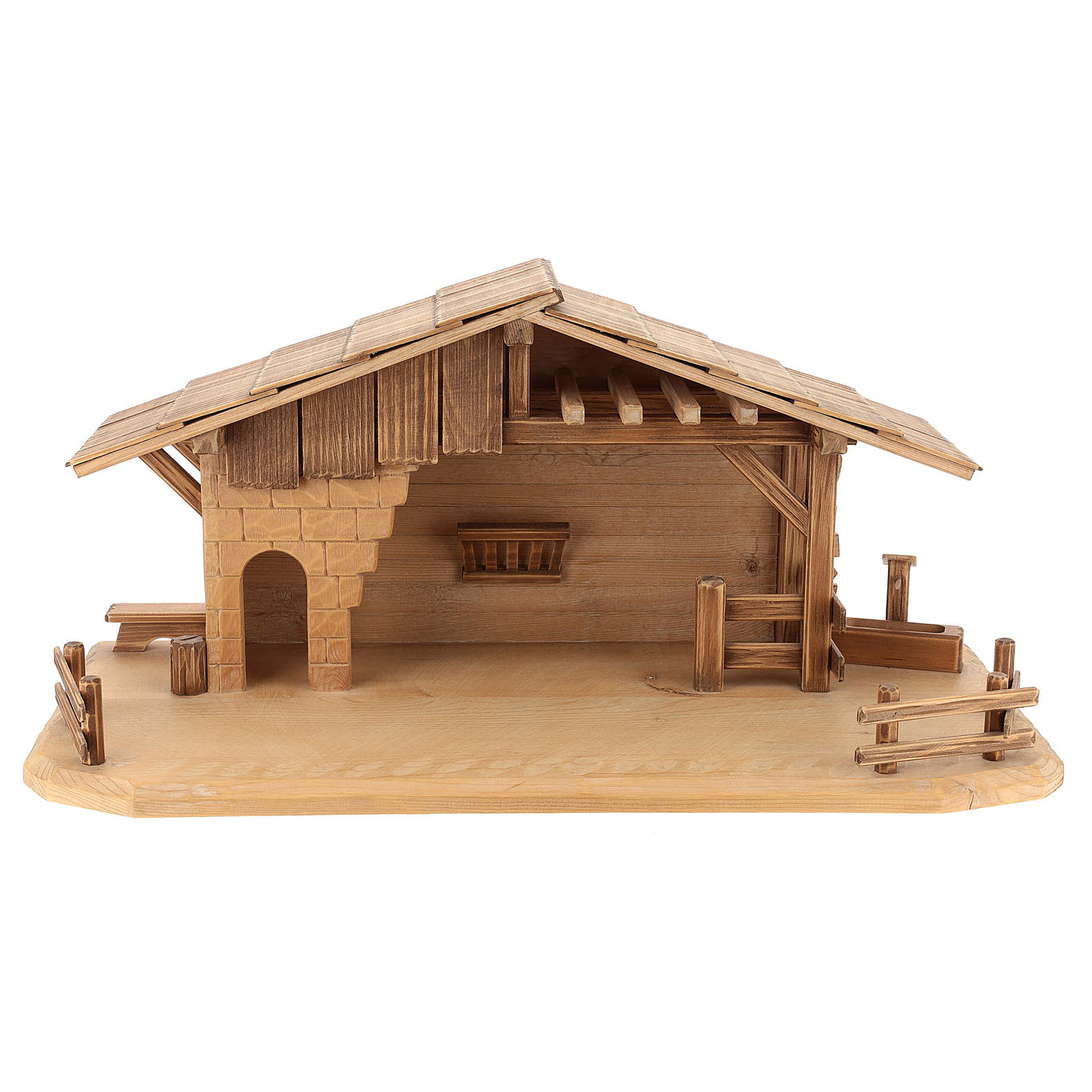 Cabaña estilo refugio para belén Valgardena de madera multipatinada 4