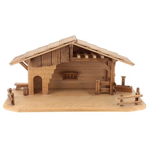 Cabaña estilo refugio para belén Valgardena de madera multipatinada 1