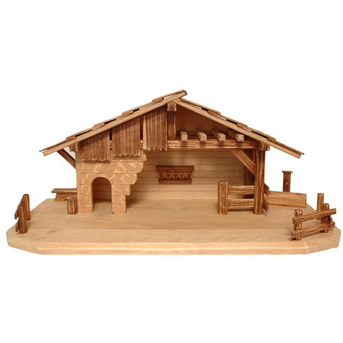 Cottage style nativity stable, multi-patinated Valgardena wood 1