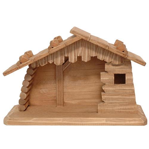 Capanna legno presepe Valgardena 10 cm patinata 1