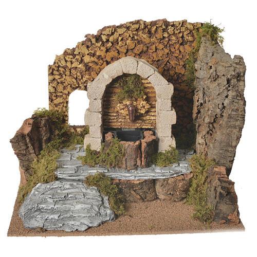 Fontana in gesso con ambiente in sughero 32x24x24 1