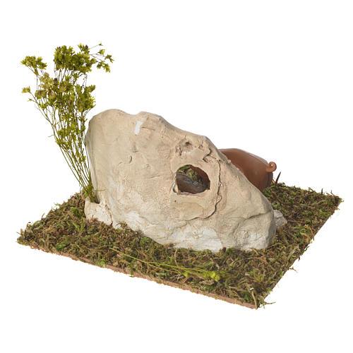 Porcilaia in gesso su base legno 10x16x13 3