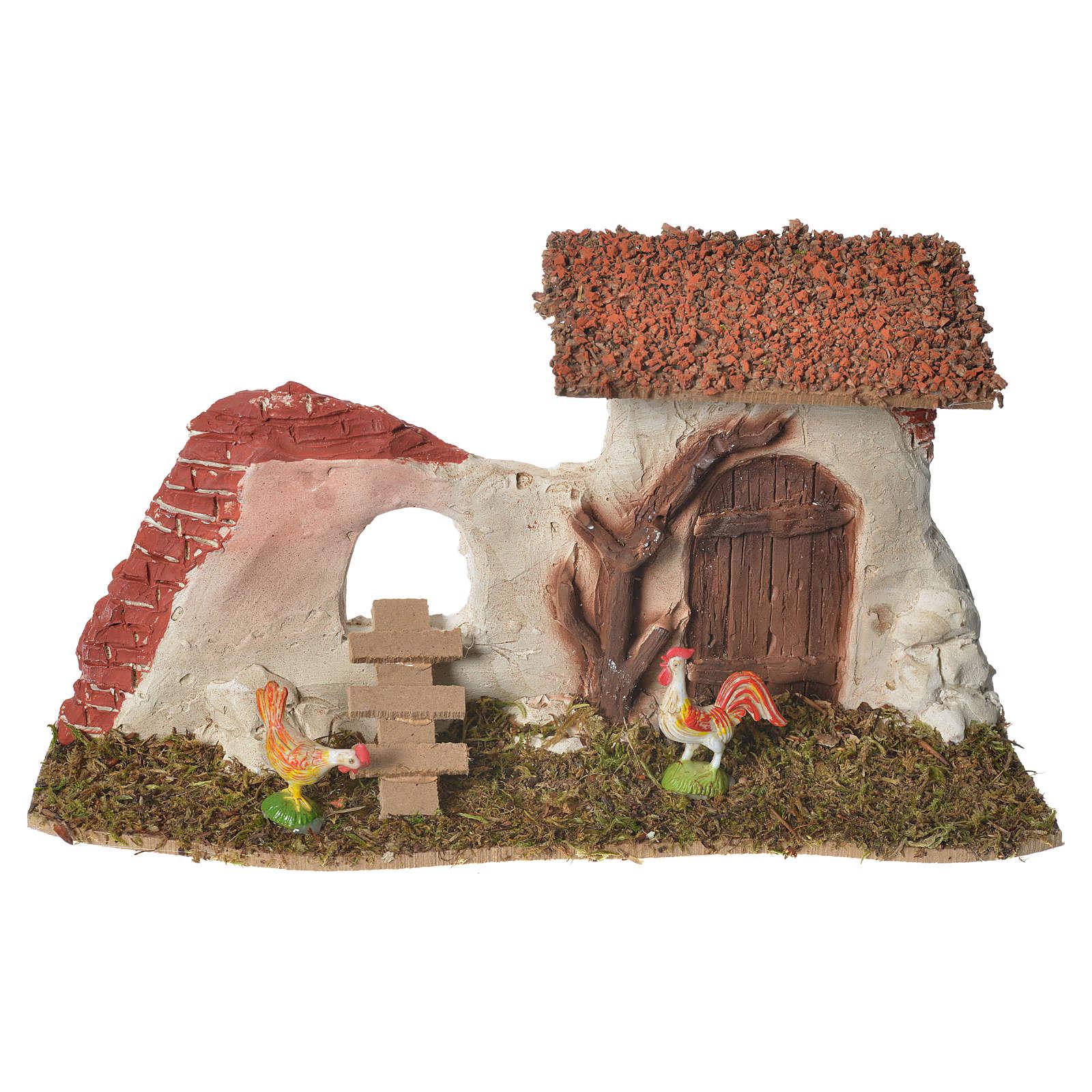 Nativity Scene hen house in plaster on wooden base 17x28x10 4