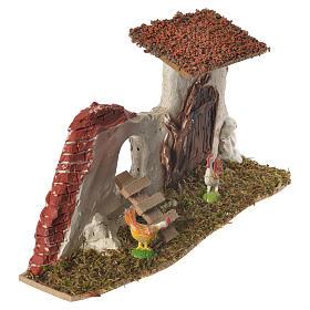 Nativity Scene hen house in plaster on wooden base 17x28x10 s2