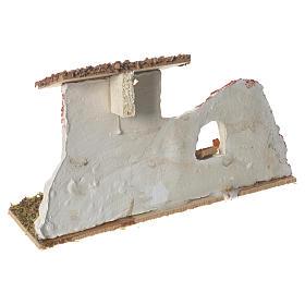 Nativity Scene hen house in plaster on wooden base 17x28x10 s3