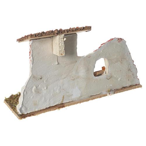 Nativity Scene hen house in plaster on wooden base 17x28x10 3