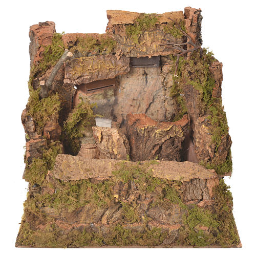 Nativity waterfall with 2 streams and pump 26x30x33cm 1
