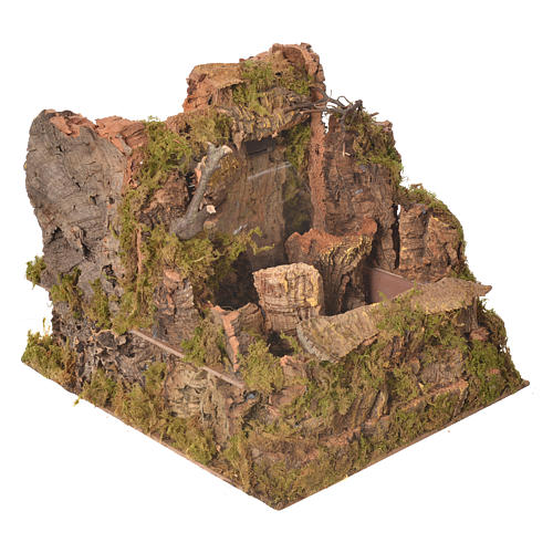 Nativity waterfall with 2 streams and pump 26x30x33cm 2