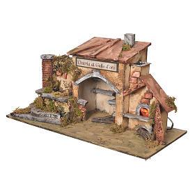 Taverne crèche 2 fours effet feu et fontaine 27x50x13cm s3