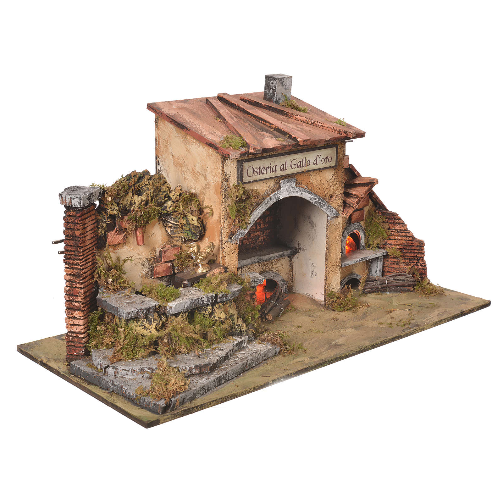 Inn house for nativities with 2 ovens and fountain 27x50x13cm 4