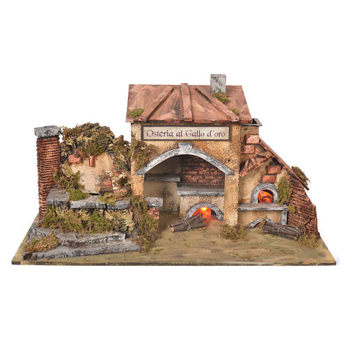 Inn house for nativities with 2 ovens and fountain 27x50x13cm 1