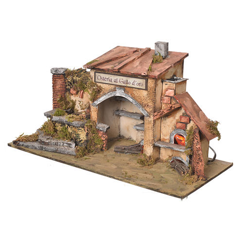 Inn house for nativities with 2 ovens and fountain 27x50x13cm 3