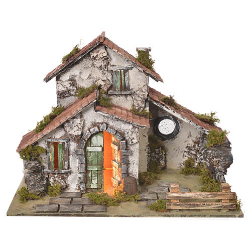 Nativity setting, farmhouse with light and grotto measuring 32,5x45x30cm 1