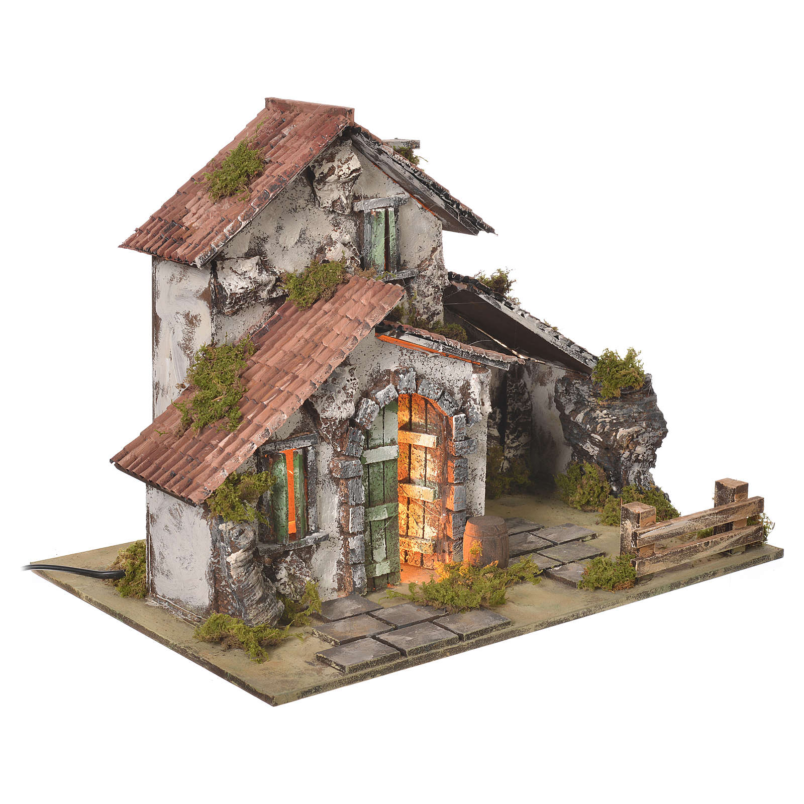 Nativity setting, farmhouse with light and grotto measuring 32,5x45x30cm 4