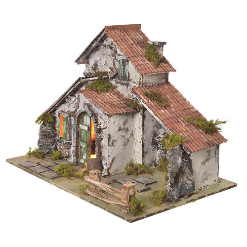 Nativity setting, farmhouse with light and grotto measuring 32,5x45x30cm 3