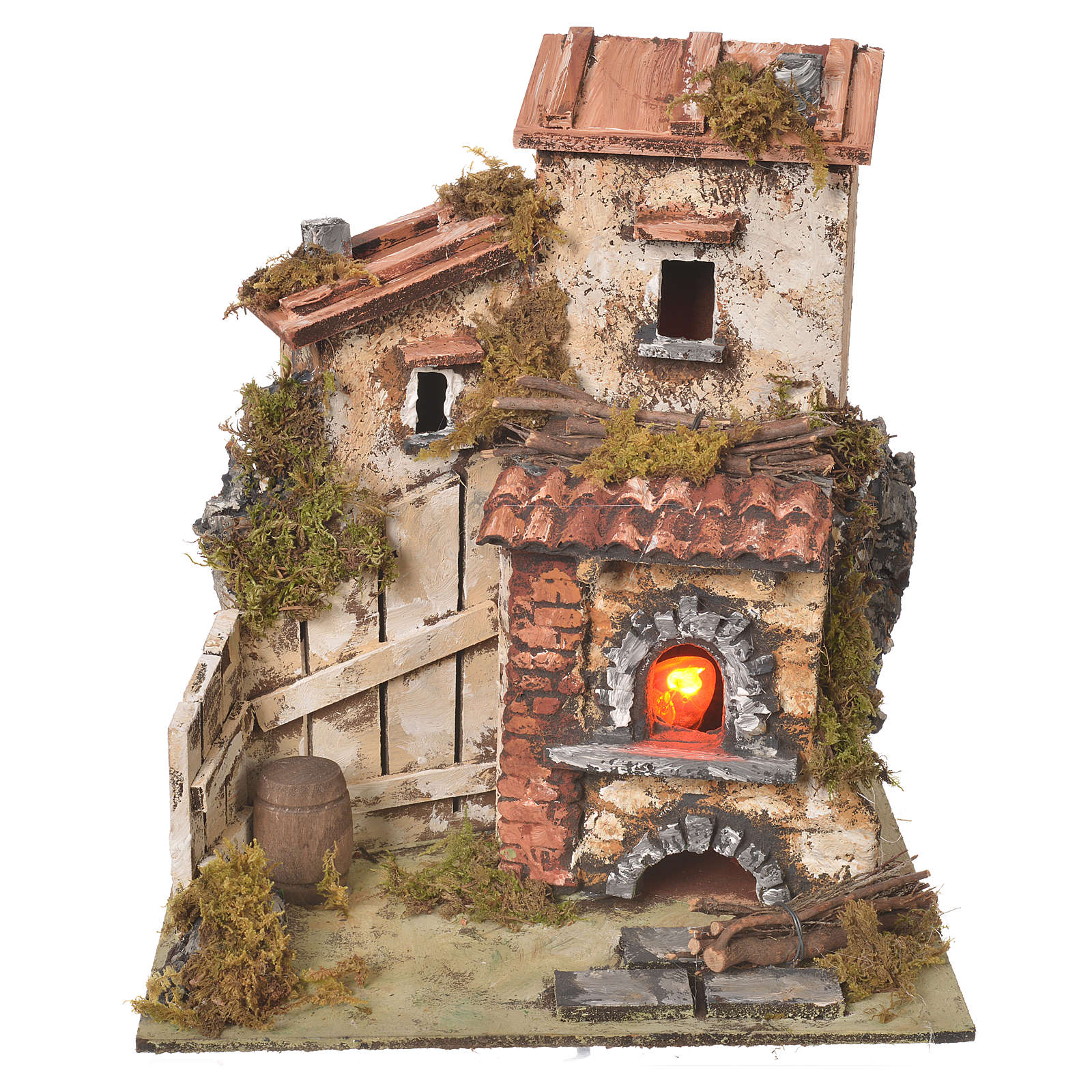 Farmhouse with flame effect oven for nativities 25.5x24x21cm 4