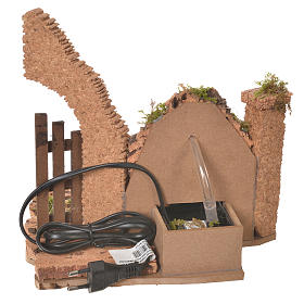 Nativity fountain with electric pump and half arch 23.5x24x21cm s4
