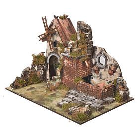 Moulin à vent crèche avec abreuvoir 31x30x45 cm s3