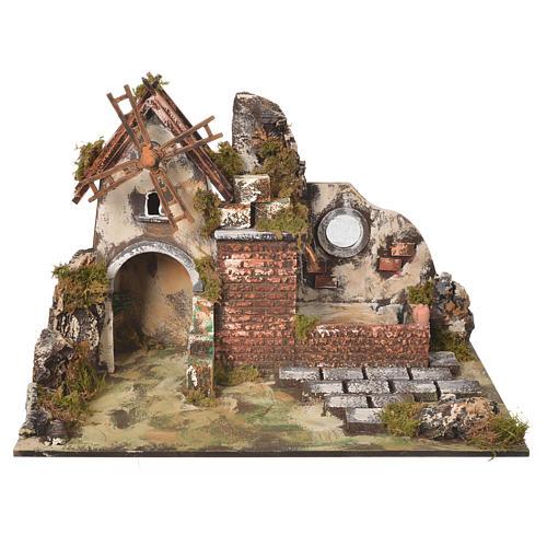 Moulin à vent crèche avec abreuvoir 31x30x45 cm 1