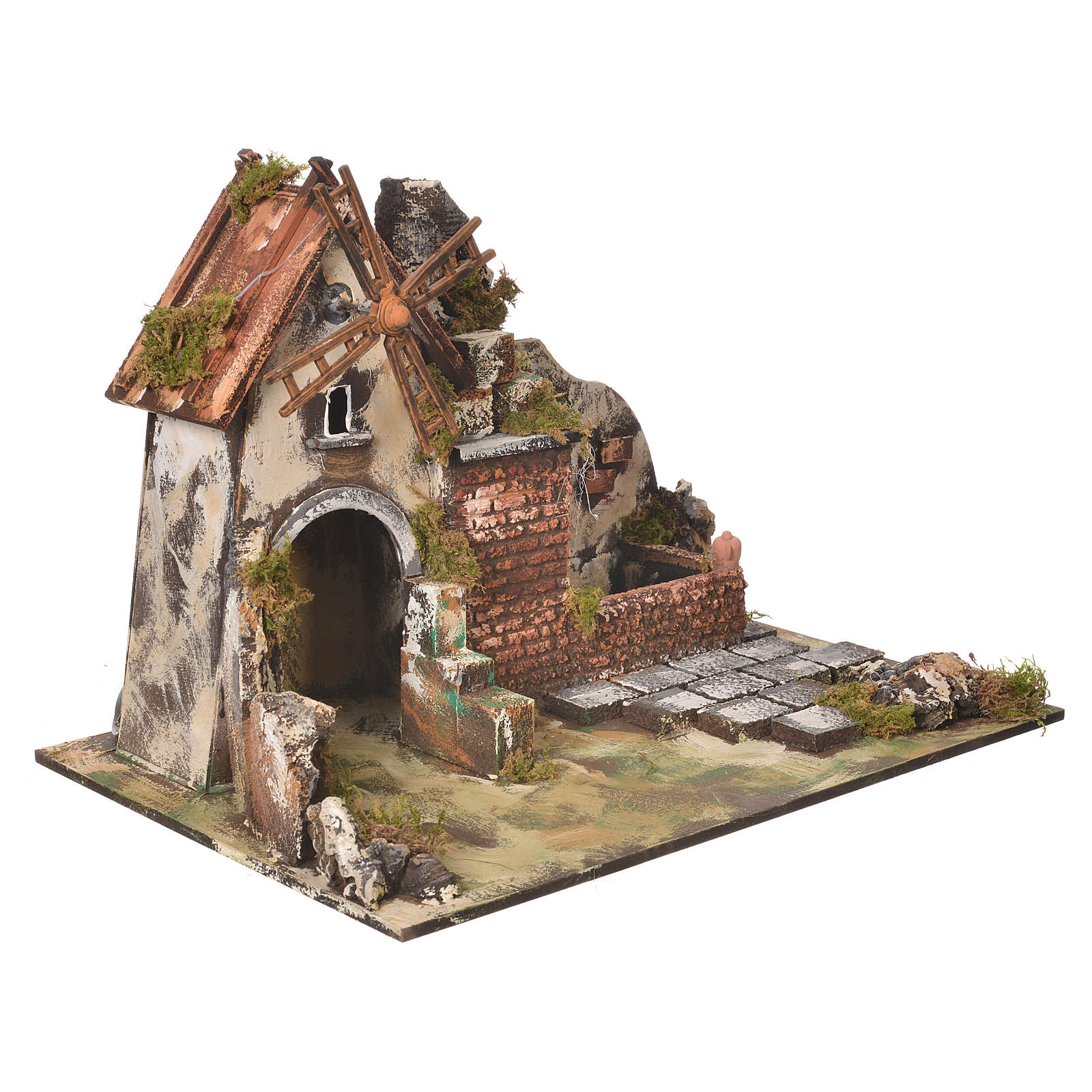 Wind mill for nativities with drinking trough measuring 31x30x45cm 4