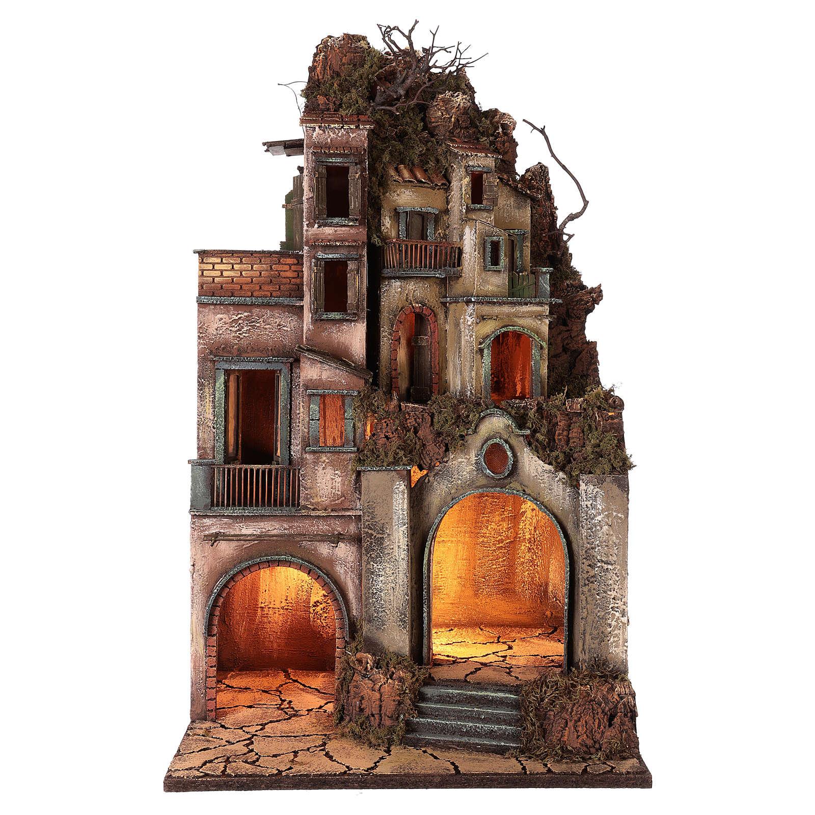Illuminated house with grotto 80x50x40cm, Neapolitan Nativity 4
