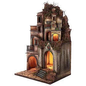 Illuminated house with grotto 80x50x40cm, Neapolitan Nativity s3