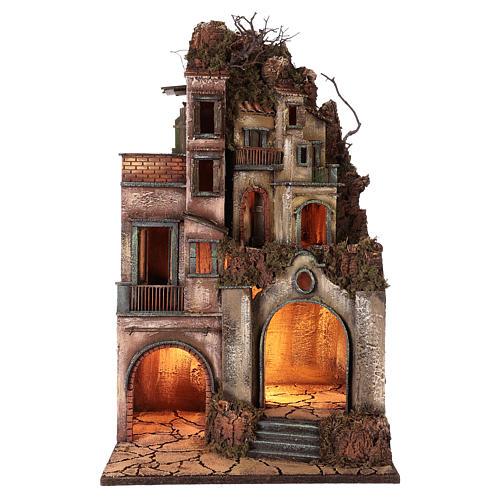 Illuminated house with grotto 80x50x40cm, Neapolitan Nativity 1