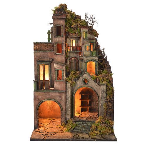 Pueblo iluminado con cueva 80x50x40 cm Belén Napolitano 1