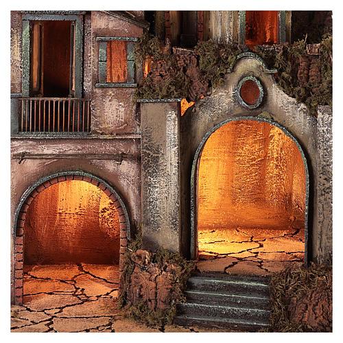 Pueblo iluminado con cueva 80x50x40 cm Belén Napolitano 2