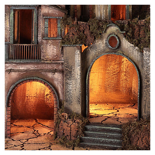 Palazzina illuminata con grotta 80x50x40 presepe napoletano 2