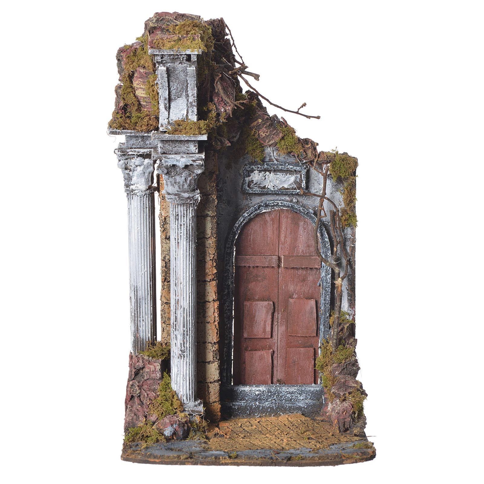 Temple with brown door for nativities, 20x20x40cm 4