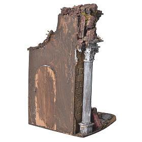Temple with brown door for nativities, 20x20x40cm s3