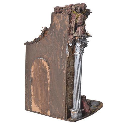 Temple with brown door for nativities, 20x20x40cm 3