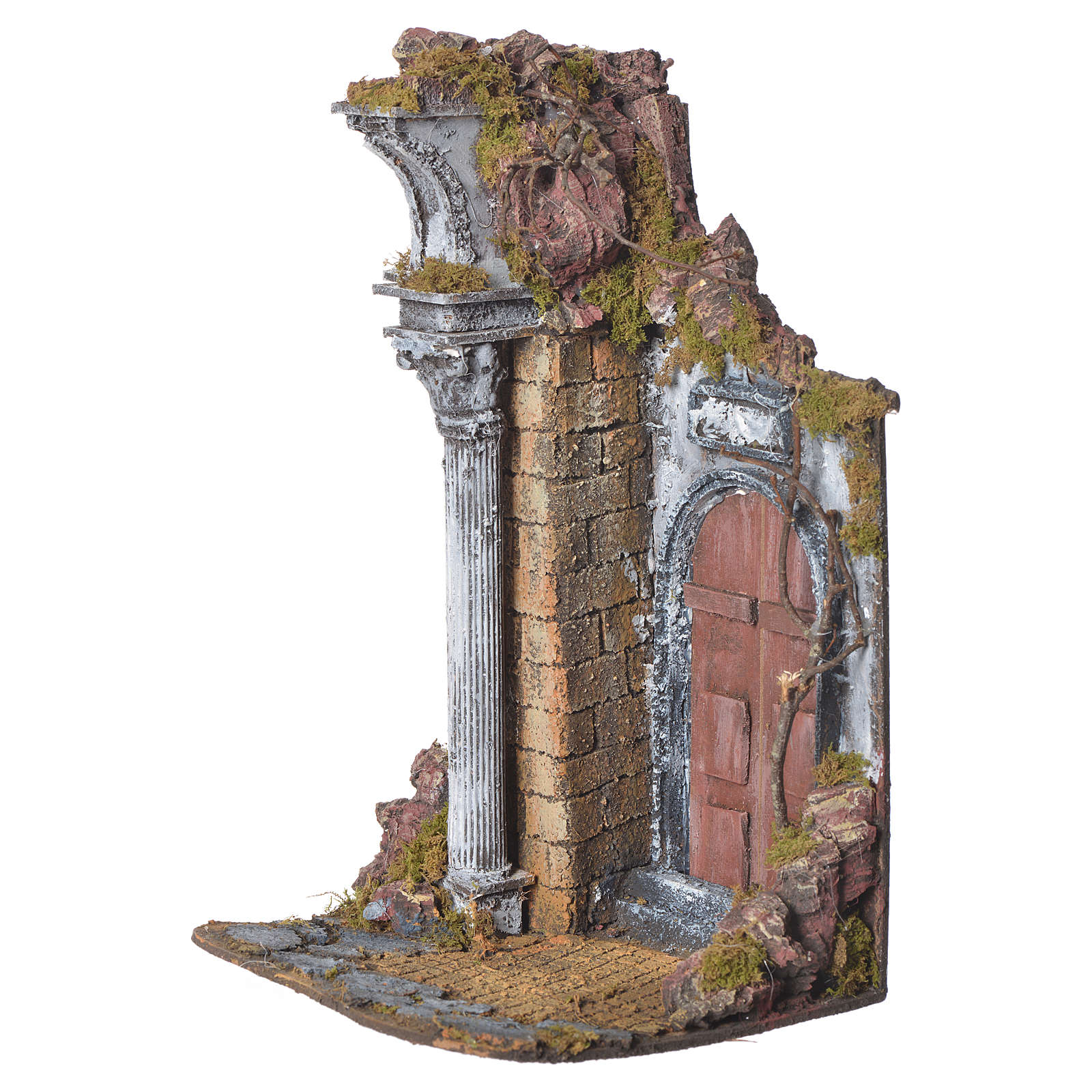 Temple with brown door for nativities, 20x20x40cm 4